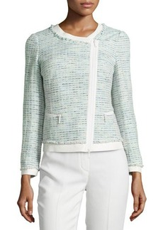 Lafayette 148 New York Asymmetric-Zip Leather-Trim Tweed Jacket