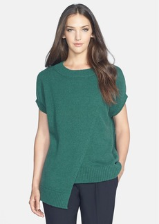 Lafayette 148 New York Asymmetrical Layer Cap Sleeve Sweater