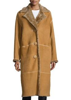 Lafayette 148 New York Audrina Shearling Fur Long Coat, Butterscotch