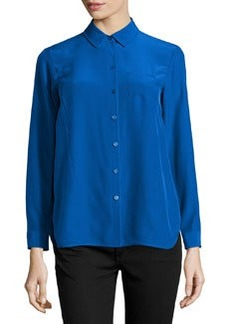 Lafayette 148 New York Autumn Long-Sleeve Silk Blouse, Neptune