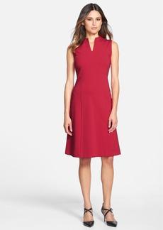 Lafayette 148 New York 'Ava' Punto Milano High V-Neck Dress