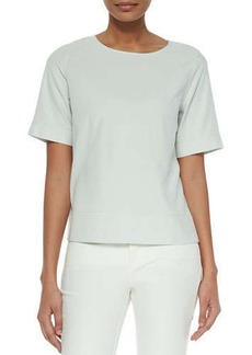 Lafayette 148 New York Back-Zip Silk Jersey Blouse