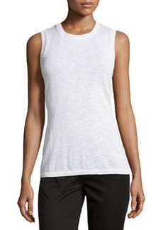Lafayette 148 New York Basic Crewneck Sleeveless Tank, White