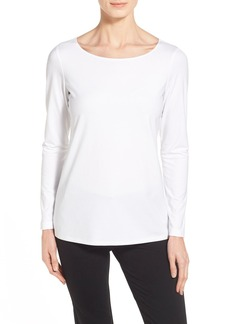 Lafayette 148 New York Bateau Neck Long Sleeve Jersey Tee