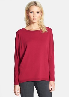 Lafayette 148 New York Bateau Neck Matte Crepe Sweater