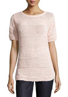 Lafayette 148 New York Bateau-Neck Short-Sleeve Sweater
