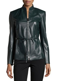 Lafayette 148 New York Belted Zip Leather Jacket