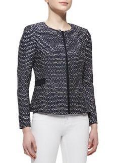 Lafayette 148 New York Bently Hidden-Zip-Front Tweed Jacket, Navy
