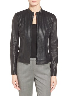 Lafayette 148 New York 'Biana' Shadow Stripe Lambskin Leather Jacket