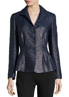 Lafayette 148 New York Bianca Metallic Tweed Jacket, Black Metallic