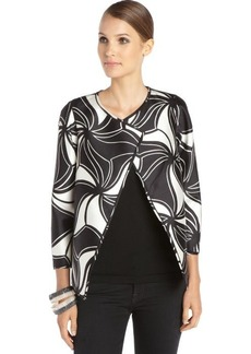 Lafayette 148 New York black and white cotton blend woven printed 'Venus Topper' jacket