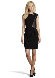 Lafayette 148 New York black stretch fabric and leather 'Robin' sleeveless dress