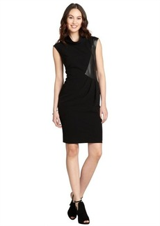 "Lafayette 148 New York black stretch leather accent sleeveless ""Robin"" dress"