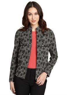 Lafayette 148 New York black wool-cotton blend tweed long sleeve jacket
