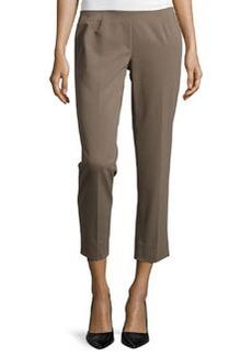 Lafayette 148 New York Bleecker Straight-Leg Cropped Pants, Nougat