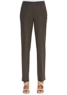 Lafayette 148 New York Bleecker Stretch Straight-Leg Pants, Granite