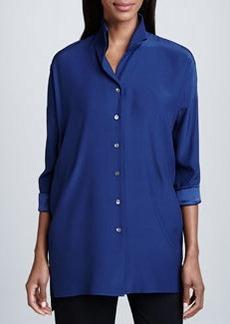 Lafayette 148 New York Blue Silk Selma Blouse
