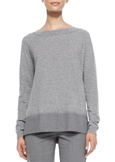 Lafayette 148 New York Boat-Neck Combo Sweater