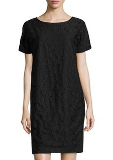 Lafayette 148 New York Boat-Neck Short-Sleeve Dress, Black
