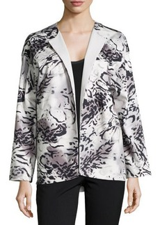 Lafayette 148 New York Bracelet-Sleeve Printed Jacket