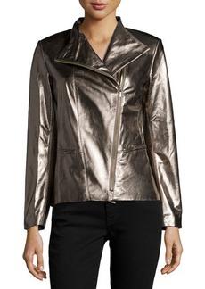 Lafayette 148 New York Bradley Metallic-Leather Jacket, Gunmetal