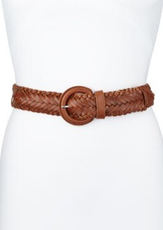 Lafayette 148 New York Braided Leather Belt, Brown, Women's