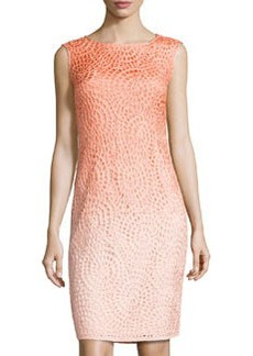 Lafayette 148 New York Braided Ombre Sheath Dress, Peach/Multi