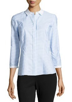 Lafayette 148 New York Brenna Stripe Blouse, Spa Blue