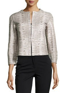 Lafayette 148 New York Bricen Snake-Print Leather Jacket, Shale