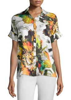 Lafayette 148 New York Britlee Abstract-Floral Short-Sleeve Silk Blouse
