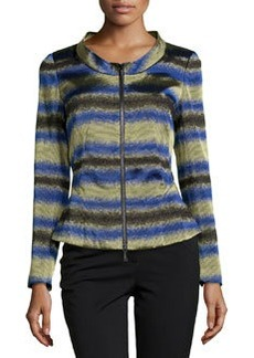 Lafayette 148 New York Brittany Funnel-Neck Zip Knit Jacket, Azurite Multi