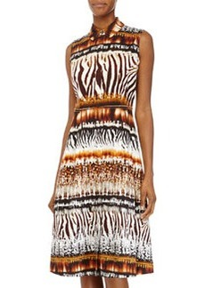 Lafayette 148 New York Bronte Printed Sleeveless Dress, Espresso/Multi