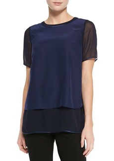 Lafayette 148 New York Bryn Silk Short-Sleeve Blouse