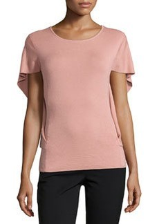 Lafayette 148 New York Butterfly-Sleeve Cashmere-Blend Sweater, Macaroon