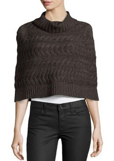 Lafayette 148 New York Cable-Knit Poncho, Coffee