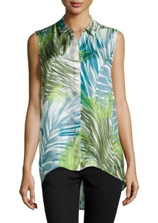 Lafayette 148 New York Caden Sleeveless Palm-Print Blouse