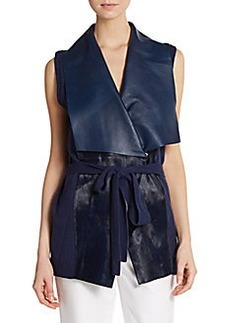 Lafayette 148 New York Calf Hair, Leather & Cashmere Vest