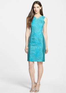 Lafayette 148 New York 'Camille' Silk Panel Shantung Sheath Dress
