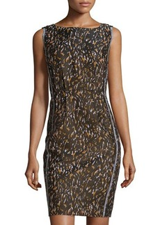 Lafayette 148 New York Camo-Print Sleeveless Sheath Dress