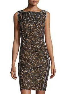 Lafayette 148 New York Camo-Print Sleeveless Sheath Dress