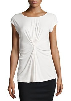 Lafayette 148 New York Cap-Sleeve Gathered Center Top, Cloud