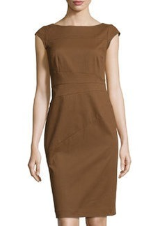 Lafayette 148 New York Cap-Sleeve Jacquard Sheath Dress, Coconut