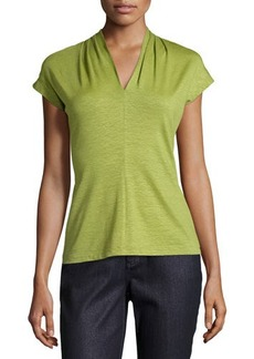 Lafayette 148 New York Cap-Sleeve Pleated V-Neck Tee