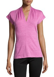 Lafayette 148 New York Cap-Sleeve Pleated V-Neck Tee, Plumeria
