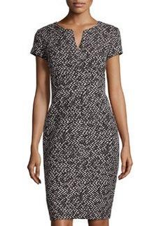 Lafayette 148 New York Cap-Sleeve Sheath Dress, Black Multi