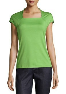 Lafayette 148 New York Cap-Sleeve Square-Neck Top, Verde