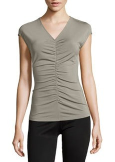Lafayette 148 New York Cap-Sleeve V-Neck Tee, Palladium