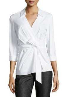 Lafayette 148 New York Caralyn Wrap-Bow Blouse, White