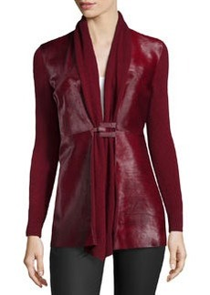Lafayette 148 New York Cashmere & Calf Hair Cardigan, Merlot