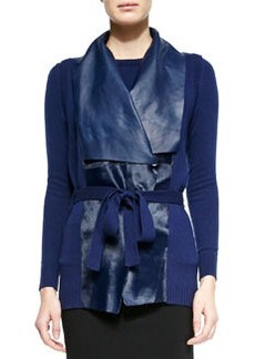 Lafayette 148 New York Cashmere & Calf Hair Long Vest